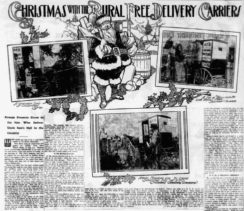 Christmas with the Rural Free Delivery Carriers, Philadelphia Inquirer newspaper article 17 December 1905