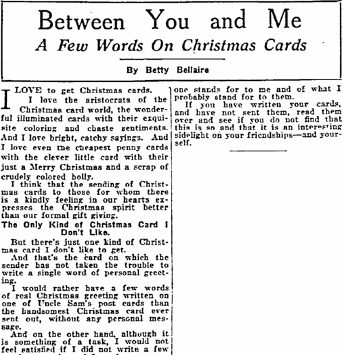 A Few Words on Christmas Cards, Philadelphia Inquirer newspaper article 24 December 1919