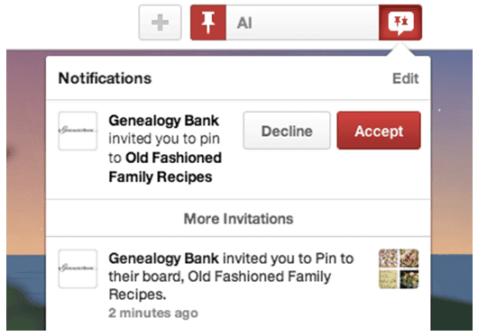 screenshot of Pinterest sign-up message
