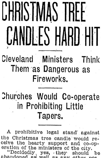 Christmas Tree Candles Hard Hit, Plain Dealer newspaper article 29 July 1908