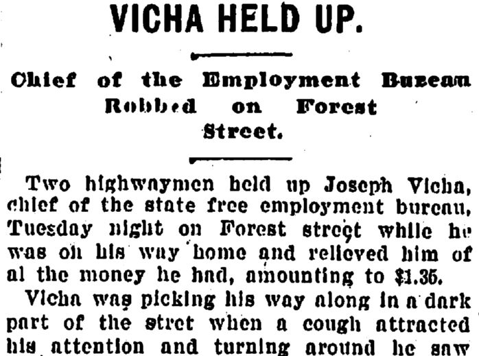 [Joseph K.] Vicha Held Up, Plain Dealer newspaper article 24 November 1898