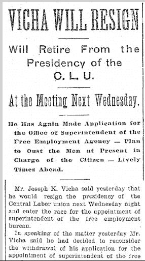 [Joseph K.] Vicha Will Resign; Will Retire from the Presidency of the C.L.U., Plain Dealer newspaper article 28 November 1896