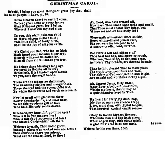 """Christmas Carol"" by Martin Luther, Portland Weekly Advertiser newspaper article 4 January 1859"