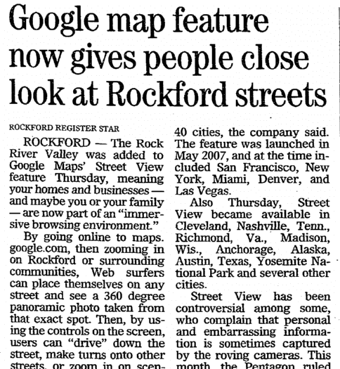 Google Map Feature Now Gives People Close Look at Rockford Streets, Register Star newspaper article 28 March 2008