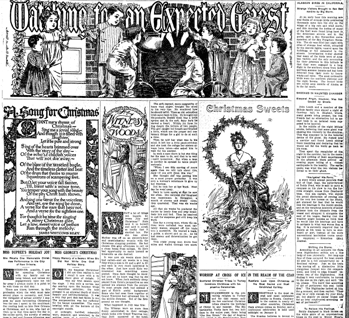 Watching for an Expected Guest [Santa Claus], Repository newspaper article 13 December 1908