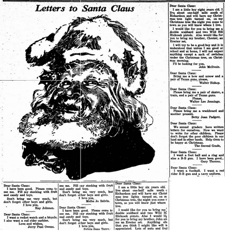Letters to Santa Claus, Richardson Echo newspaper article 19 December 1941