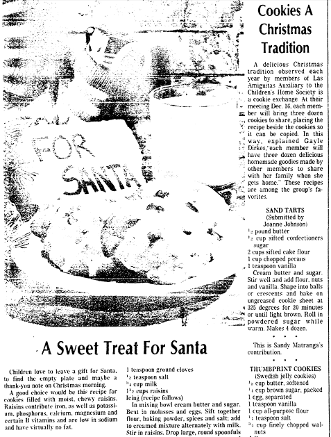 Cookies a Christmas Tradition, San Diego Union newspaper article 11 December 1980