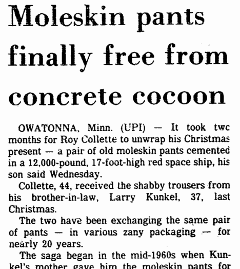 Moleskin Pants Finally Free from Concrete Cocoon, Springfield Union newspaper article 29 March 1984