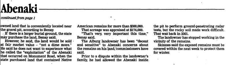 Abenaki Remains Lie in Alburg, page 2, St. Albans Daily Messenger newspaper article 19 December 2005