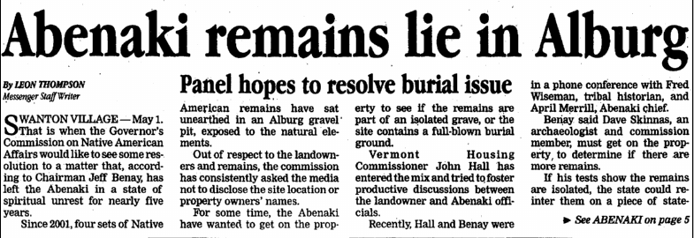Abenaki Remains Lie in Alburg, page 1, St. Albans Daily Messenger newspaper article 19 December 2005