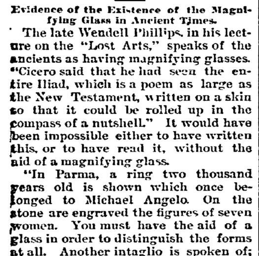 Evidence of the Existence of the Magnifying Glass in Ancient Times, State newspaper article 10 September 1893