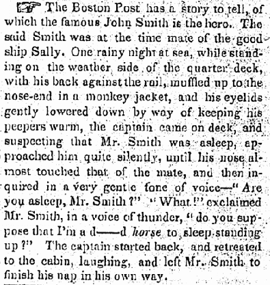article about John Smith, Times-Picayune newspaper article 5 February 1856
