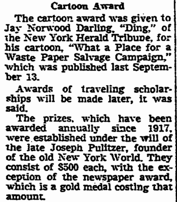 Cartoon Award, Times-Picayune newspaper article 4 May 1943