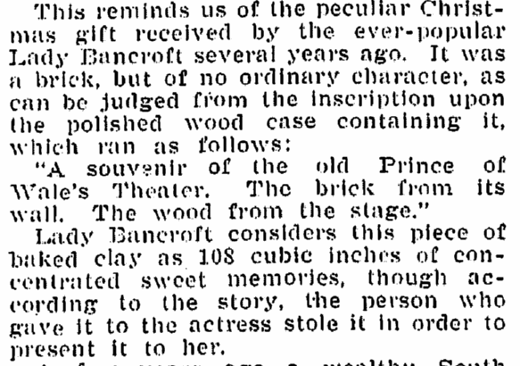 Some Queer Christmas Presents, Times-Picayune newspaper article 12 December 1909