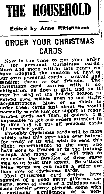 Order Your Christmas Cards, Trenton Evening Times newspaper article 8 November 1917