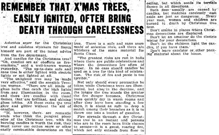 Remember That X'Mas Trees, Easily Ignited, Often Bring Death through Carelessness, Trenton Evening Times newspaper article 21 December 1913