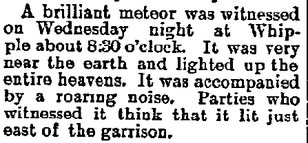 report of a meteor from Arizona, Weekly Journal Miner newspaper article 27 January 1897