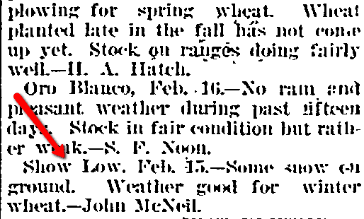 weather report for Show Low, Arizona, Weekly Phoenix Herald newspaper article 24 February 1898