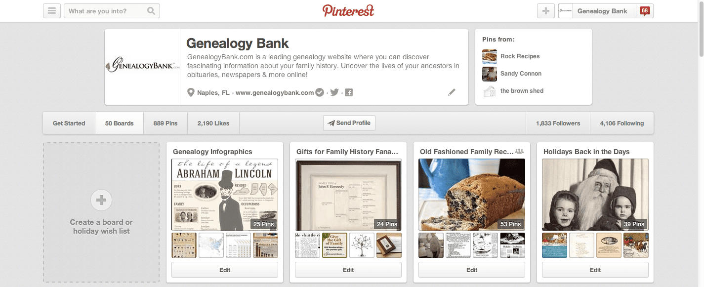 Genealogy Bank Pinterest Page