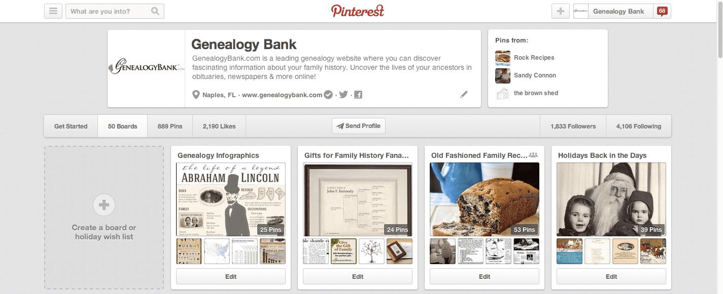 Genealogy Bank Pinterest Page