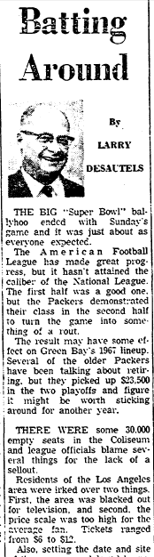 stories about football's first Super Bowl, Aberdeen Daily News newspaper article 16 January 1967