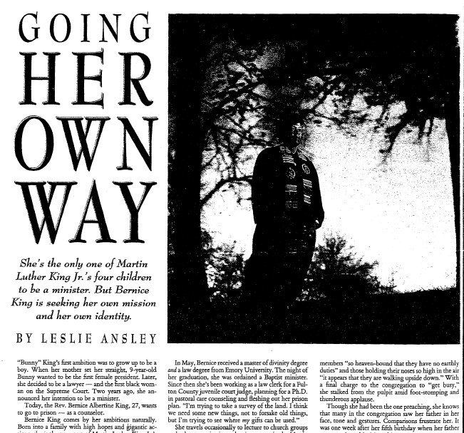 [Bernice King] Going Her Own Way, Aberdeen Daily News newspaper article 20 January 1991