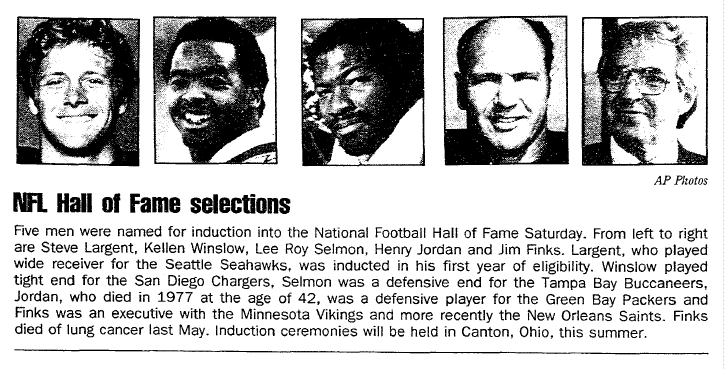 NFL Hall of Fame Selections, Aberdeen Daily News newspaper article 29 January 1995