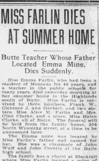 obituary for Emma Farlin, Anaconda Standard newspaper article 7 September 1922