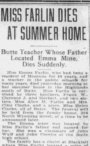 obituary for Emma Farlin, Anaconda Standard newspaper article 7 September 1922