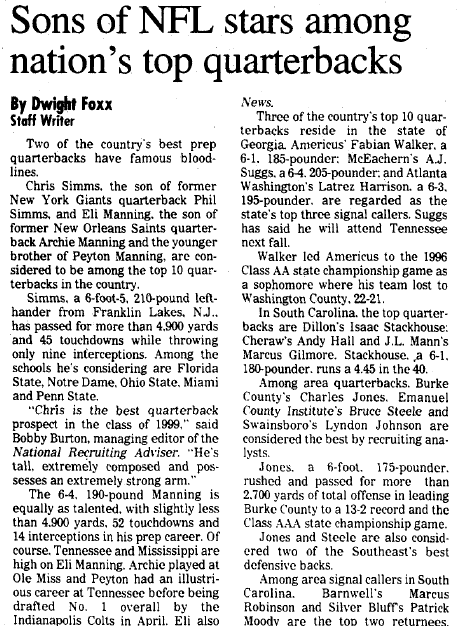 Sons of NFL Stars among Nation's Top Quarterbacks, Augusta Chronicle newspaper article 4 September 1998
