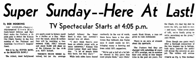 Super [Bowl] Sunday--Here at Last, Boston Herald newspaper article 15 January 1967