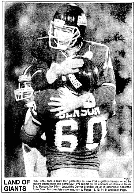 a photo of 1987 Super Bowl MVP Phill Simms, Boston Herald newspaper article 26 January 1987