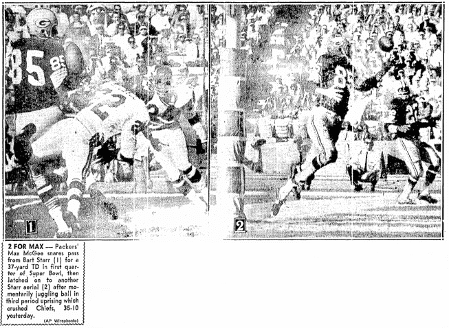 photos from football's first Super Bowl, Boston Record American newspaper article 16 January 1967