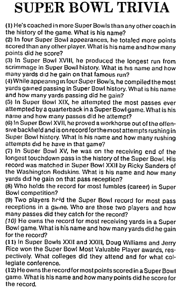 Super Bowl Trivia, Chicago Metro News newspaper article 27 January 1990