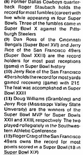 answers to Super Bowl trivia quiz, Chicago Metro News newspaper article 27 January 1990