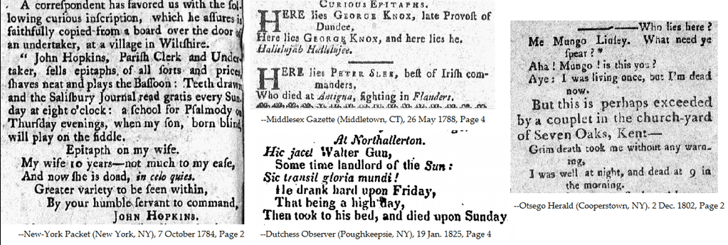 a collage of epitaphs found in historical newspapers