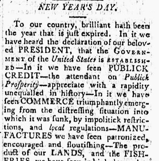 New Year's Day, Columbian Centinel newspaper article 1 January 1791