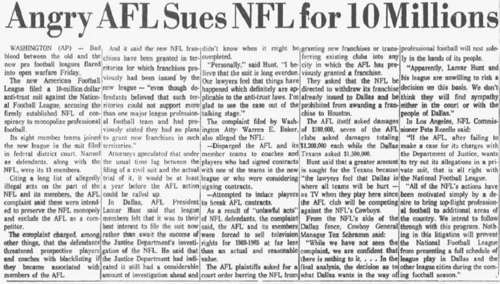 Angry AFL Sues NFL for 10 Millions, Dallas Morning News newspaper article 18 June 1960