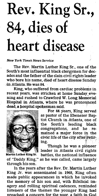 Rev. King Sr., 84, Dies of Heart Disease, Dallas Morning News newspaper article 12 November 1984