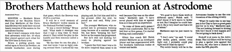 Brothers Matthews Hold Reunion at Astrodome, Dallas Morning News newspaper article 10 December 1983