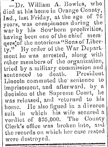obituary for William A. Bowles, Elkhart Weekly Review newspaper article 10 April 1873
