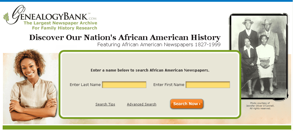 GenealogyBank's search page for its African American newspapers collection
