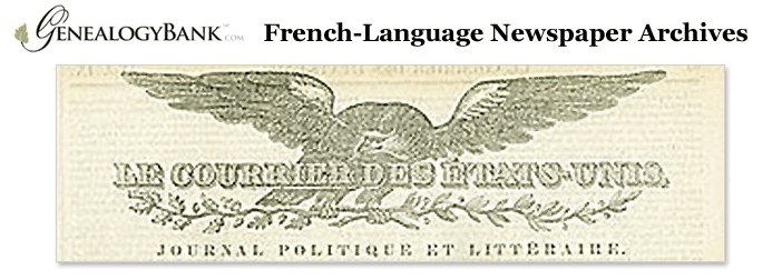 a graphic promoting GenealogyBank's French-language newspaper collection