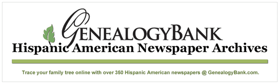 a graphic promoting GenealogyBank's Hispanic American newspapers collection