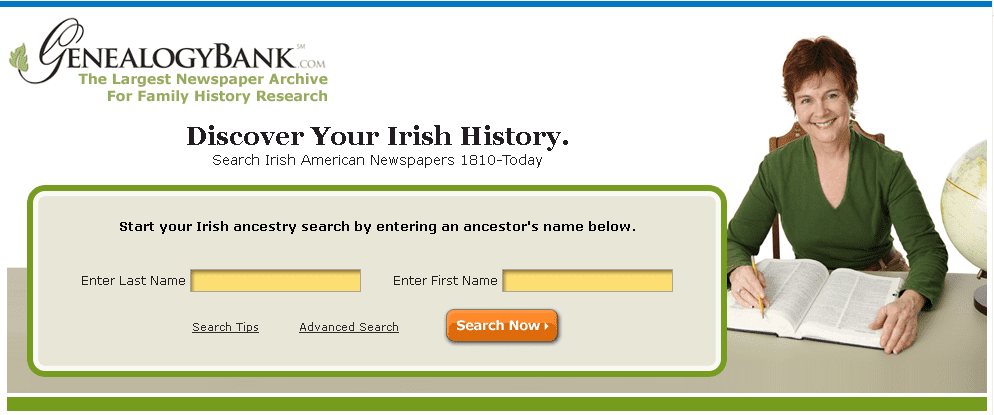 search page for GenealogyBank's Irish American newspapers collection