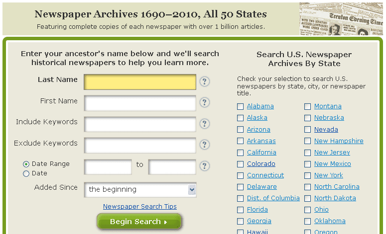 GenealogyBank's search page for itsHistorical Newspapers collection