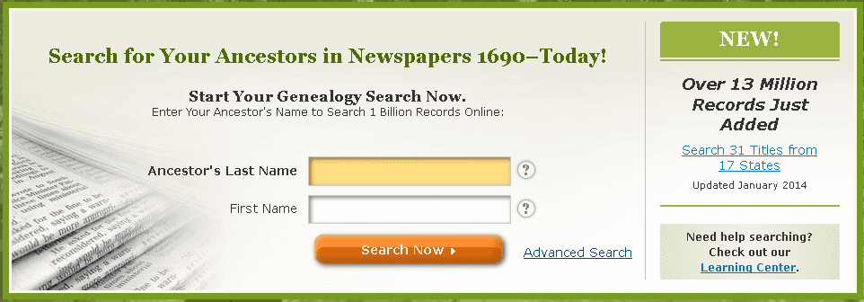 GenealogyBank's search box