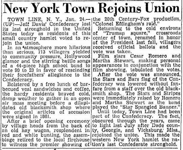 New York Town [Town Line, NY] Rejoins Union, Greensboro Daily News newspaper article 25 January 1946