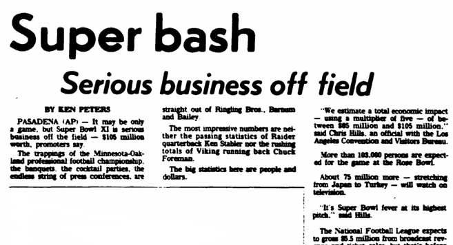 Super [Bowl] Bash--Serious Business off Field, Greensboro Record newspaper article 7 January 1977