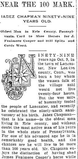 Near the 100 Mark: Jabez Chapman Ninety-nine Years Old, Idaho Register newspaper article 20 December 1895